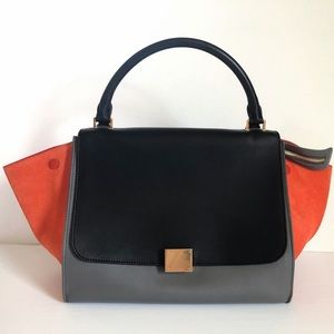 Celine trapeze in flamingo small satchel bag